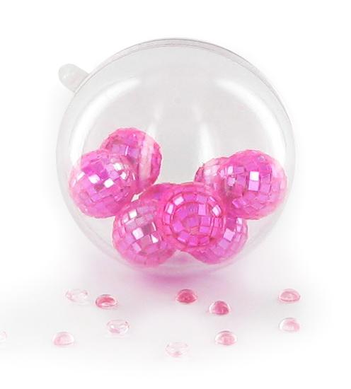 Boules en plexiglas remplie de boules disco
