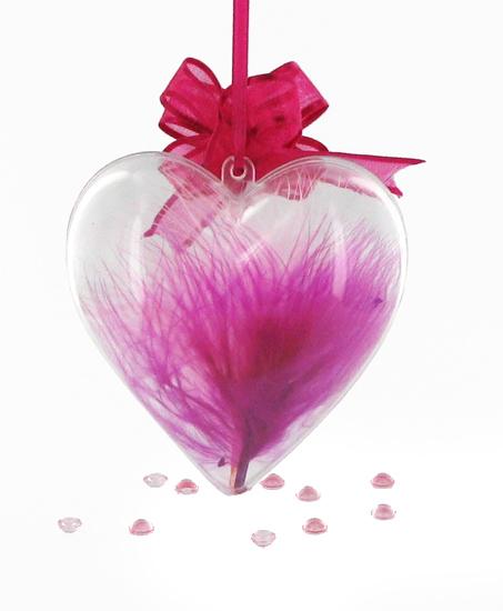 Coeur en plexiglas suspendu par un noeud automatique