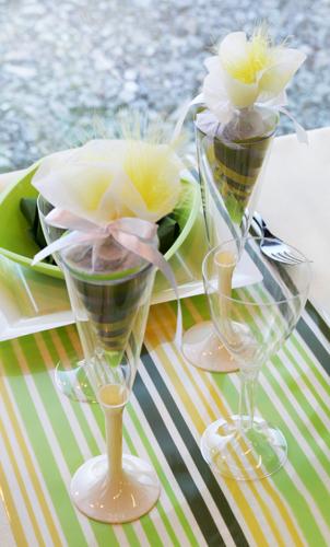 Chemin de table à rayures pour mariage