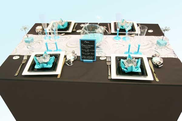 d coration de table turquoise noir et blanc d coration f te mariage. Black Bedroom Furniture Sets. Home Design Ideas