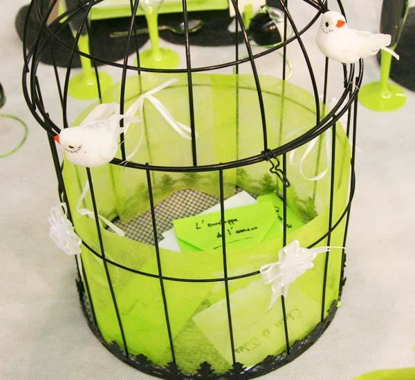 Décoration de table : en vert, noir et blanc : cage