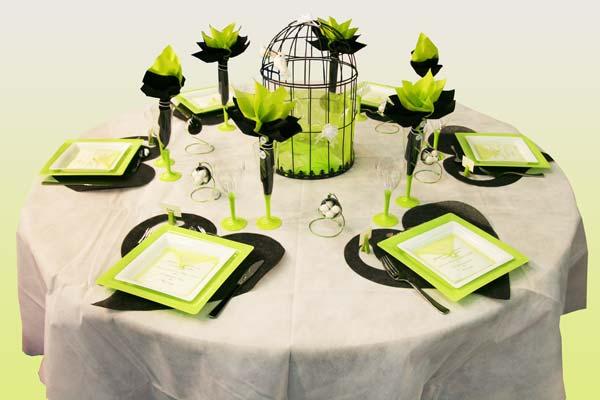 D coration de table en vert noir et blanc d coration f te mariage - Deco de table noir et blanc pas cher ...