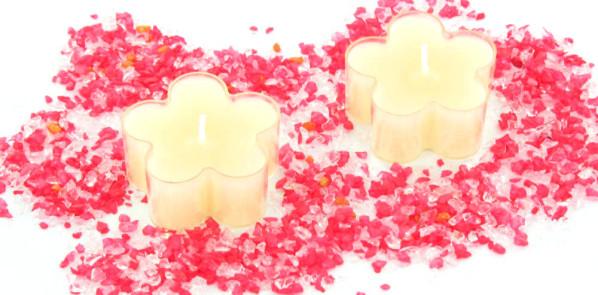 Bougies chauffes-plats en forme de fleurs