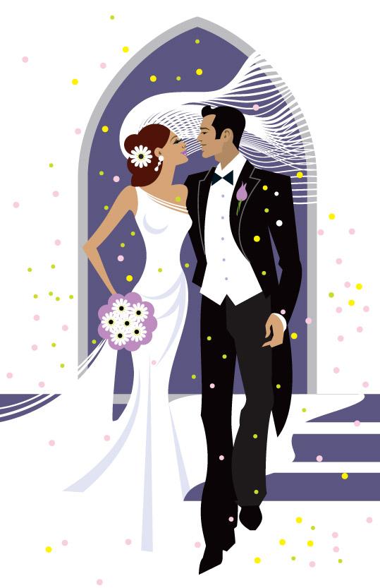 Couples de mariés façon cartoon