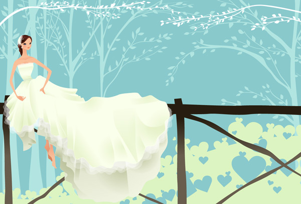 Dessin d'une mariée dans la nature