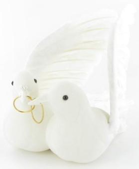 Couple de colombes avec alliances, blanc