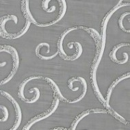 Chemin de table organza noir, arabesque argent