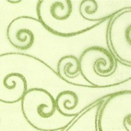 Chemin de table organza arabesques, vert
