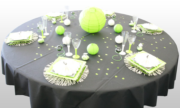 Décoration de table vert anis et noir