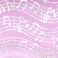 Chemin de table organza, musique, fuchsia