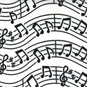 Chemin de table organza, musique, blanc
