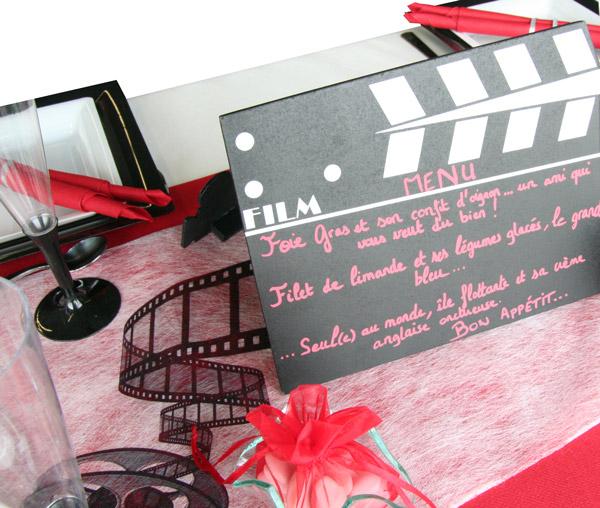 Décoration de table cinéma, menu