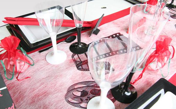 Décoration de table cinéma, verres