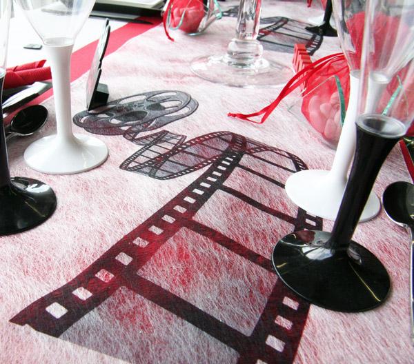 Décoration de table cinéma, chemin de table