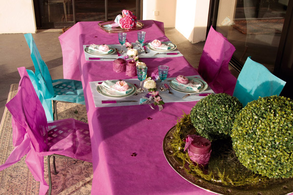 Décoration de table fuchsia