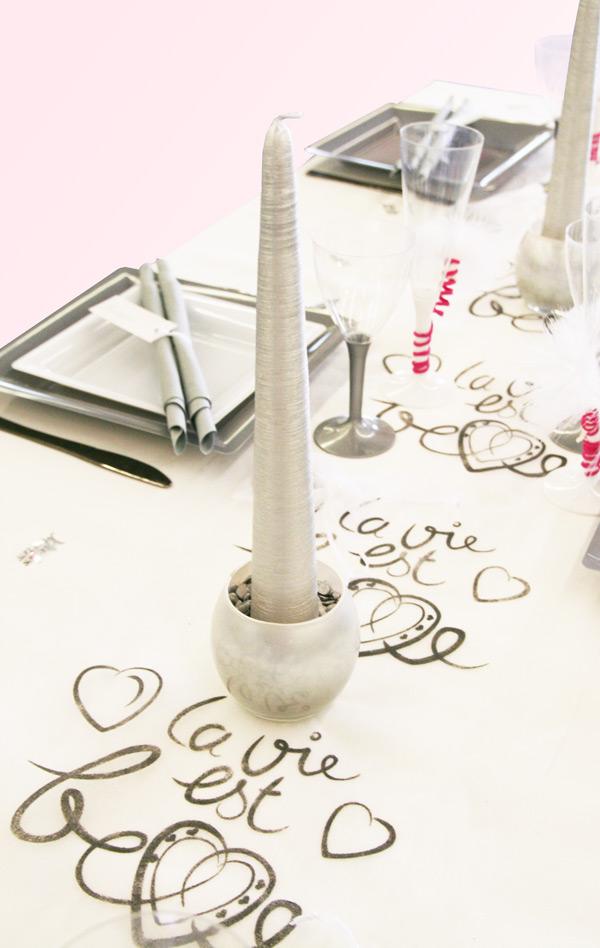 Décoration de table de mariage La vie est belle