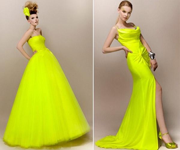 Robes de mariée jaune fluo