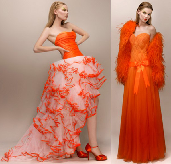 Robes de mariée orange fluo