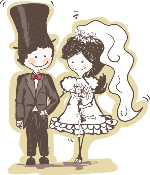 Couple de mariés mignon