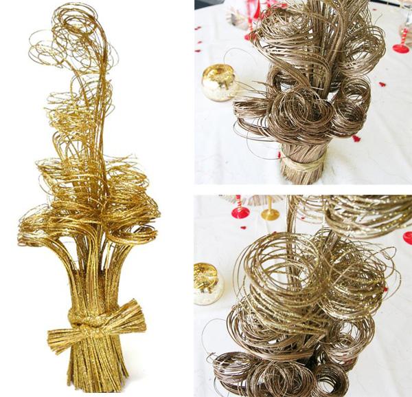 Centre de table spirale pailletée or