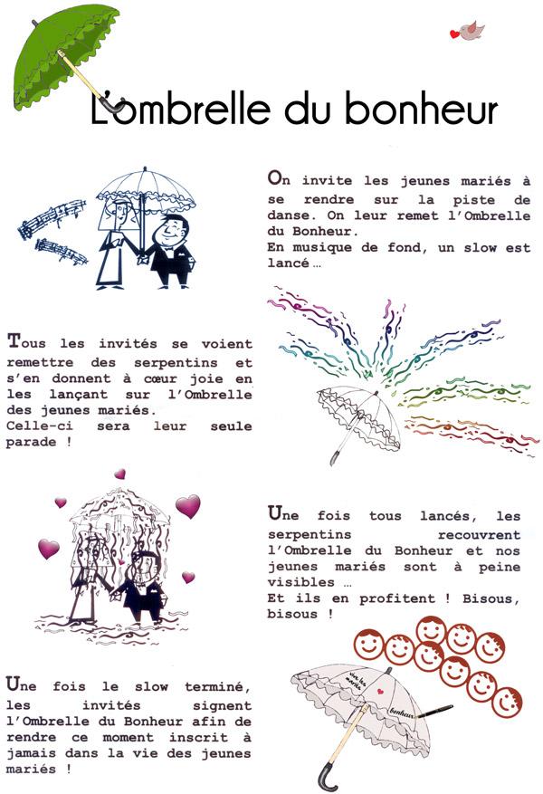 Ombrelle pour danse du parapluie lors d'un mariage