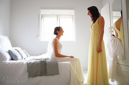 Une future mariée et ses demoiselles d'honneur