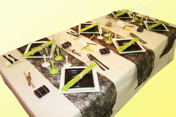 Décoration de table ivoire chocolat anis