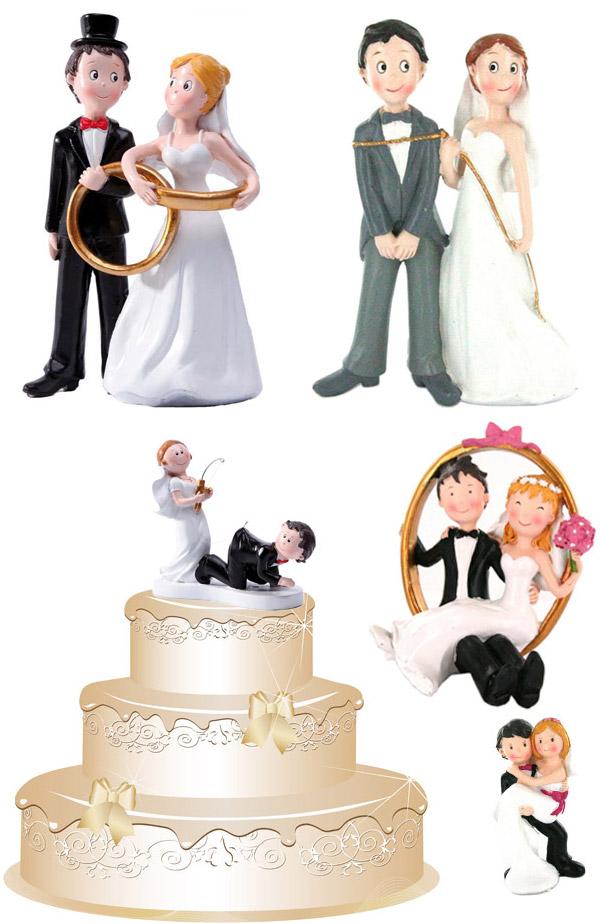 Figurines représentant des couples de jeunes mariés