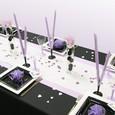 Décoration de table élégante, parme, noir et blanc