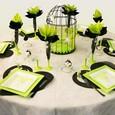Décoration de table : en vert, noir et blanc