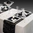 Décoration de table de mariage en noir-gris-blanc