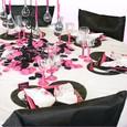 Décoration de table de mariage : fuchsia blanc noir