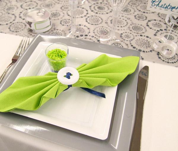 Décoration De Table Gris Vert Anis Et Bleu Roi