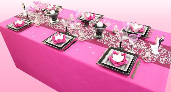 Décoration de table orientale fuchsia, argent et noir