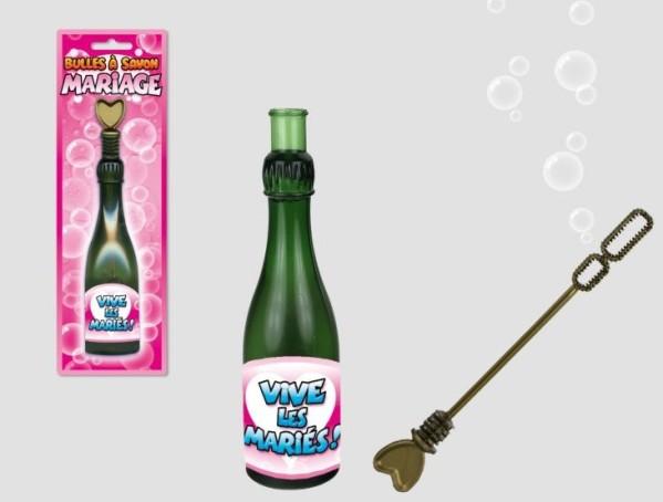 Tube bulles de savon, bouteille de champagne, vive les mariés