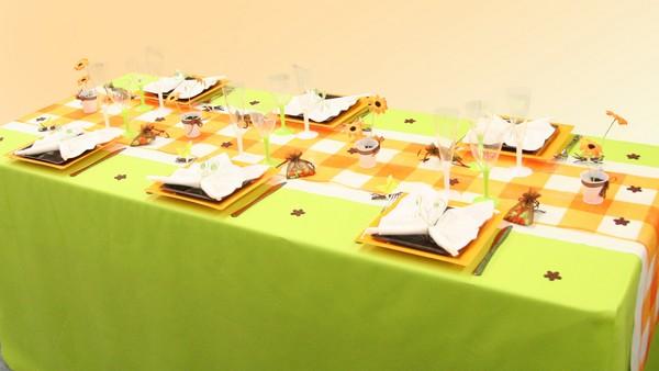 Décoration de table estivale, vert anis et orange