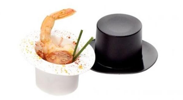Verrines jetables en forme de chapeaux haut de forme