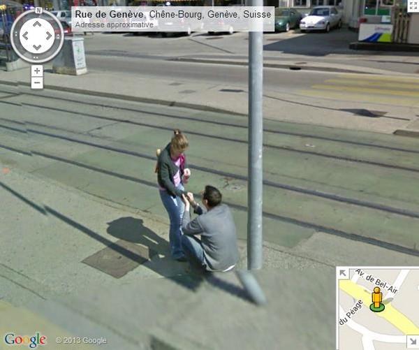 Google Street View immortalise une demande en mariage