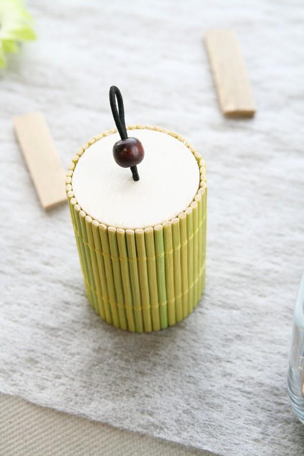 Décoration de table bambou, boîte à dragées