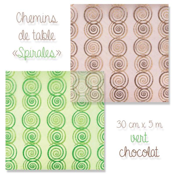Chemins en organza, décorés de spirales pailletées