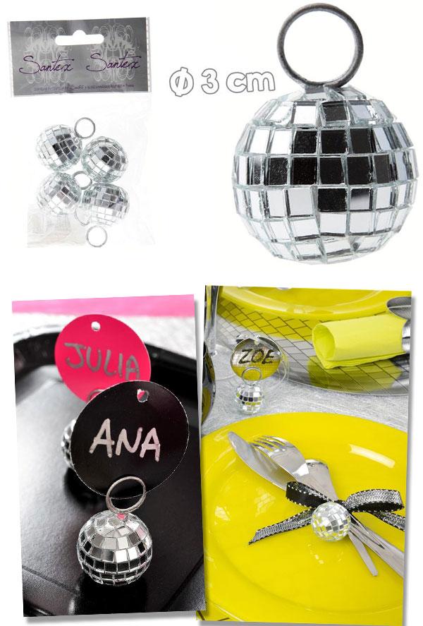 Marque-places, boules à facettes disco