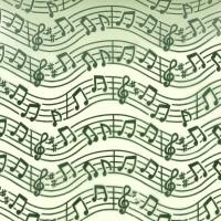 Chemin de table organza, musique, vert anis
