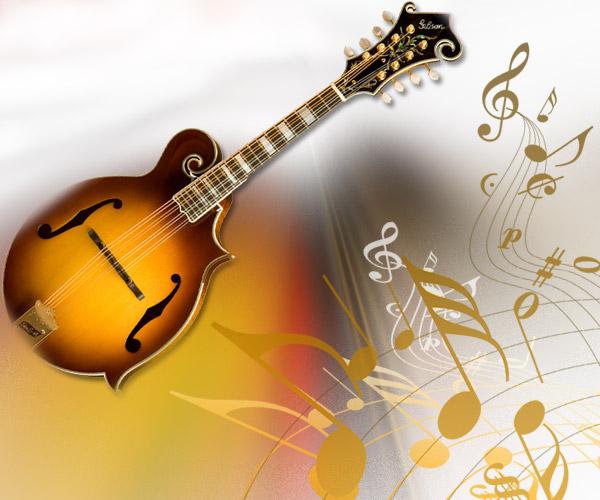 Mandoline avec des notes en 3D