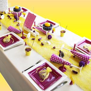 Décoration de table : jaune gris prune