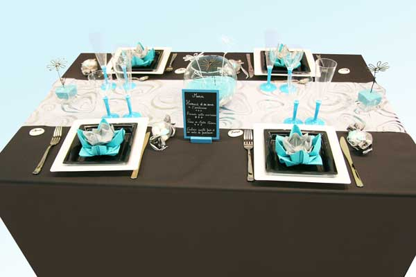 d coration de table turquoise noir et blanc d coration f te mariage. Black Bedroom Furniture Sets. Home Design Ideas